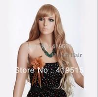 36 Inch  Women Lignt Brown Long Curly Wigs Free Shipping 100% KANEKALON Fashion Wigs Ladies Body Wave Full Wigs
