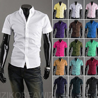 Hot! man spring 2014 Mens Slim fit Unique neckline stylish Dress short Sleeve Shirts Mens dress shirts 17colors ,size: M-XXXL,