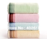 "Free shipping--Bamboo towel, 1PC/Lot, Size 55""x27""(140x70cm), Fashion towel,100%Bamboo fiber, Striped satin & Soft, 4 Colors,"
