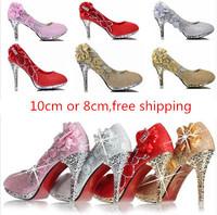 2014 new spring Wedding  rhinestone pumps women's pumps 10cm high heels platform  rivet pumps gold silver red forml party shoesa