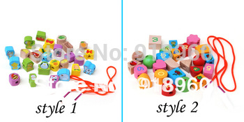 Animal Fruit/ Fruit Numbers Bead Wooden Toy String of Beads 26 Grain Wear Beads Game Toy For Children 0.3KG