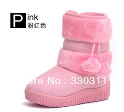 Girls Snow Boots Thicken Winter Children Shoes For 3-8 yrs Kids 2012 New Style 5 colour $10.6/pcs(China (Mainland))