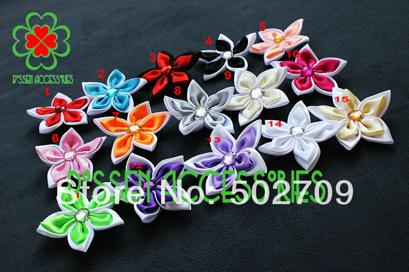 2013 New Arrival Hand-made Two Color Ribbon Flower Baby Kids Girls Heandband Hair Clip Acessories(China (Mainland))