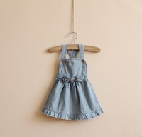 DS3131    Girls  denim suspender dress 6pcs/lot