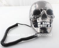 Free shipping Halloween Unique Skull Home Novelty human skeleton Telephone Skeleton Phone Wired Telephone LED Black