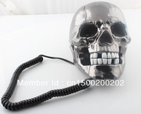 Free shipping Halloween Unique Skull Home Novelty human skeleton Telephone Skeleton Phone Wired Telephone LED Black