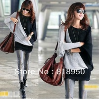 2014 Spring And Autumn Unique Design New Women Ladies Two Tone Hip-length Batwing T-shirt Patchwork Hip Slim Design Casual Tops