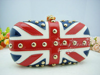 Free Shipping British Flag Ring buckle Skull rivet Women Evening Bag high quality party Clutch purse  stylish handbag with chain