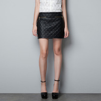 2013 Fashion New Half-length  Black Quilted Leather Skirt Free Shipping