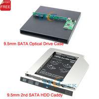 Universal 9.5mm 2nd SATA Hard Drive HDD Caddy Adapter + External USB CD DVD Optical Drive Enclosure Case Singapore Post