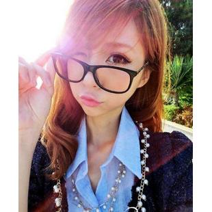 Promotion t1 Nerd Geek personality women's eyeglasses frame metal vintage plain mirror Case For myopia Free Shippi