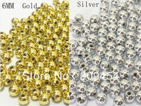 Free shipment ! 6mm 1000pcs/lot silver/Gold Spacer Beads, Spacer acrylic beads For ChunkyJewellery