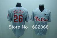 Cheap Mlb baseball uniform 26 phillies utley grey jersey