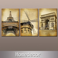 3pcs/set large canvas painting Eiffel Tower Triumphal Arch Holland Windmills canvas printing picture prints on canvas decoration
