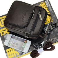 2014 free shipping Male genuine leather waist pack men's handbag casual messenger bag Men shoulder small bag