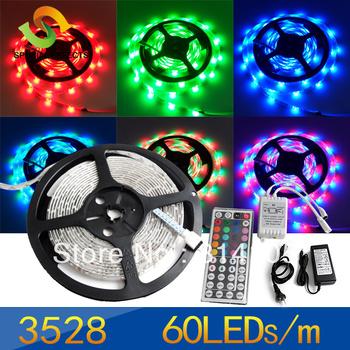 RGB SMD 3528 Flexible300LED Wateproof 12V led Strip lamp RGB&remote control+30w Power Supply+44key remote control,one set