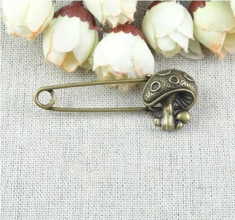 53*20MM Retro mushroom long hijab pins jewelry accessories and DIY ZAKKA parts Korean, brazil cheap brooch lot, fashion brooch(China (Mainland))