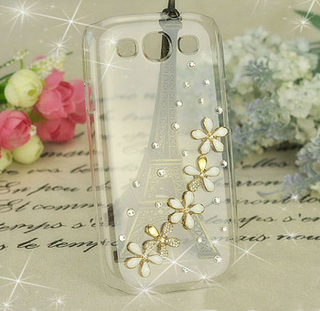 Five flower Diamond Cover For Samsung I9300 Crystal Five flower Bling Cases For Galaxy SIII S 3 +1pcs HK Free Shipping