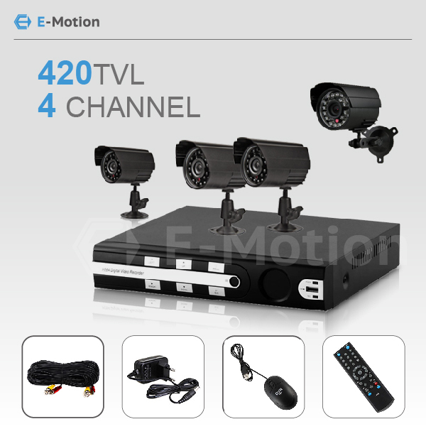 Free Shipping 4CH H.264 CCTV DVR with 4 Security Outdoor Bullet Camera Surveillance System (Network, Smart Phone Review)(China (Mainland))