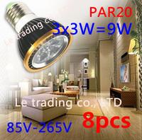 8Pcs/lot Par20 Led Lamp E27 Dimmable 3X3W 9W Spotlight Led Light Led Bulbs 85V-265V Energy Saving Free shipping