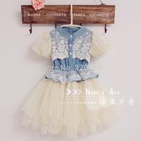 2013 summer girls clothing lace faux denim yarn princess kk023 short-sleeve dress (CC018)