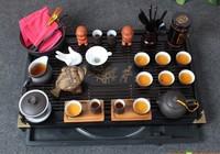 Solid wooden tea tray with kung fu tea sets  yixing purple grit tea cups teapot,gaiwan