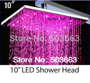 Nice 10 Inch Chrome Shower LED Faucet Mixer Tap Bathroom Shower Vanity Faucet L-1502 Shower Head