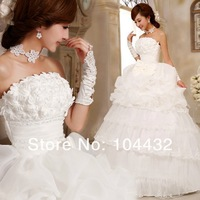 2013 new Designn bow bridal sweet princess wedding Woman blossoming cake skirt wedding dress size: S M L XL  free shipping