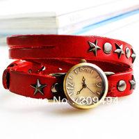 2013 Newest Arrival Woman Wristwatch Leather Band Bracelet  Watch Antique Quartz  Beautiful  Elegance Watch Free Shipping