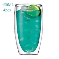4pcs,450ml Bodum Style Pavina Double Wall Glass Cup/ Mouth Blown Hademade Heat Resist Borosilicate/Free Shipping/Wholesales