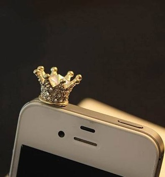 Min.order is$10(mix order) 2013 New Arrival Cell Phone Accessories Dust Plug Full Crystal Crown Phone Chain SP001
