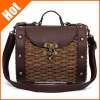new Vintage straw women messenger bag 2013 woven beach bag 3 colors fashion handbag 20*10*16cm