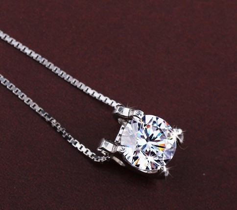 2013 New 925 pure silver crystal zircon White Gold Plated necklace female short design chain Free Shipping(China (Mainland))
