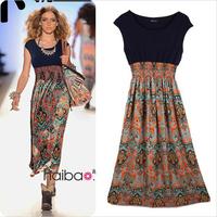 Hot summer dress 2014 printed chiffon dress bohemian beach holiday dress vestidos desigual women dress