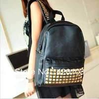 hot sale cool punk gold spiky backpack stud bag school bag hobo men women unisex bag hot #8084