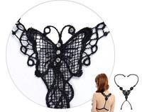 1 x Ladies Sexy Black Cross Fashion Bra Straps Lace Butterfly Bra Shoulder Straps Summer Necessary