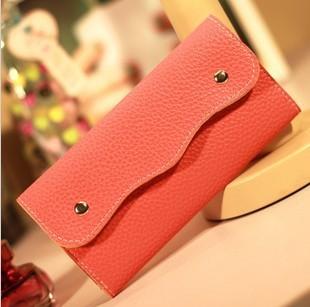 Retail! 12 colors !! Korean Women's Snap Button Long Designer Brand Wallets Card Holder Leather Purse Fashion A822