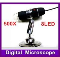1pc,USB Microscope 500X 2.0 MP 8-LED Digital ,holder stand+Retail Box+Free Shipping