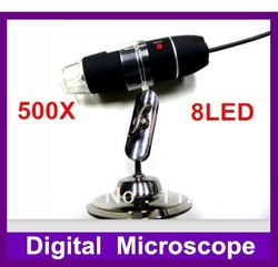 1pc,USB Microscope 500X 2.0 MP 8-LED Digital ,holder stand+Retail Box+Free Shipping(China (Mainland))