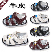 Baby cattle leather sandals soft outsole toe cap covering children shoes boys  girls shoes toddler child sandals free shipping
