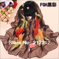 Free Shipping!New Women's Fashion flower printed Design chiffon georgette silk scarf/ shawl!