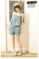 free shipping  Fashion and lovely womens jump suit  Denim casual sweet suit for women&#39;s  9502