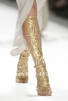 Gold Lace-up High Heels Summer Boots Sandal Cutout Booty Knee High Sandal Women 2013 Fashion