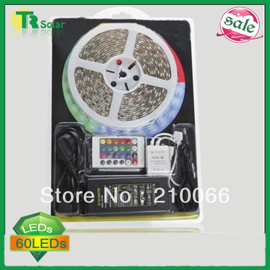 RGB Led Strip Waterproof 5M SMD 5050 60 LEDs/m +24 keys IR Remote+High Power 60w Power supply Free Shipping LED Rope lighting(China (Mainland))