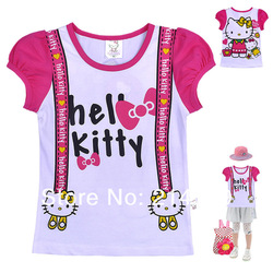 NEW summer Hello Kitty Personality fashion girl's short sleeve T-shirt Cartoon coat Manufacturers wholesale 6/LOT Free shipping(China (Mainland))