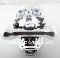 Free Shipping Skull Phone Fashinon Telephone Skull Telephone Jumping Eyes Skull Phone with Bone Headset Silver