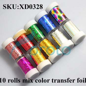 Freeshipping- New Fashion 10 Rolls Mix colors Nail Art Transfer Foil Set Nail Tip Decoration Set Dropshipping SKU:XD0328