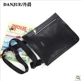2013 Male leather Brand messenger bag Black body bag for man leather satchel men Child School bag M2053-3