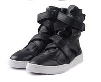 45 46 2014 men's dancing punk hip-hop high upper shoesmale genuine leahter korean britsh style sheepskin personality boots sale