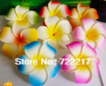 48X mixed color Plumeria flowers Hawaiian Foam Frangipani Flowers hair clip 6cm